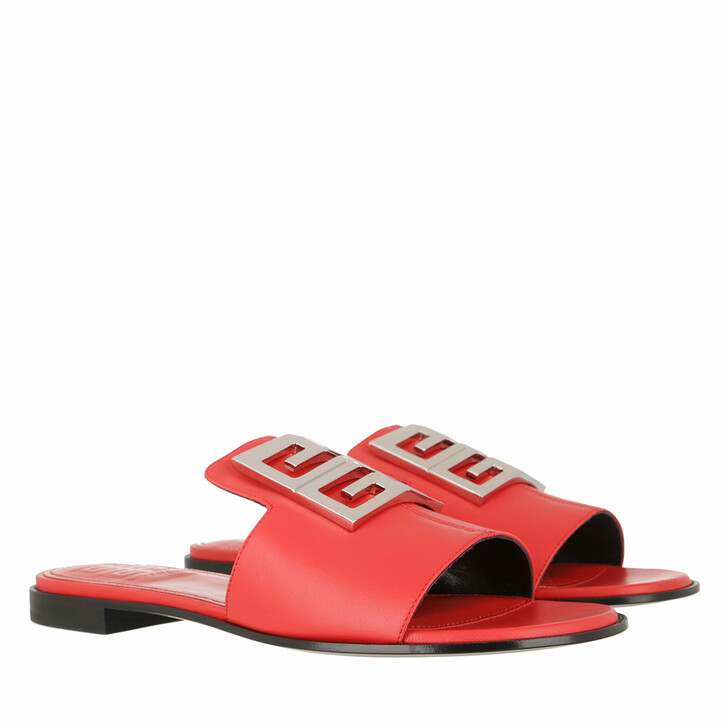 Schuh, Givenchy, 4G Flat Mule Sandals Nappa Leather Red