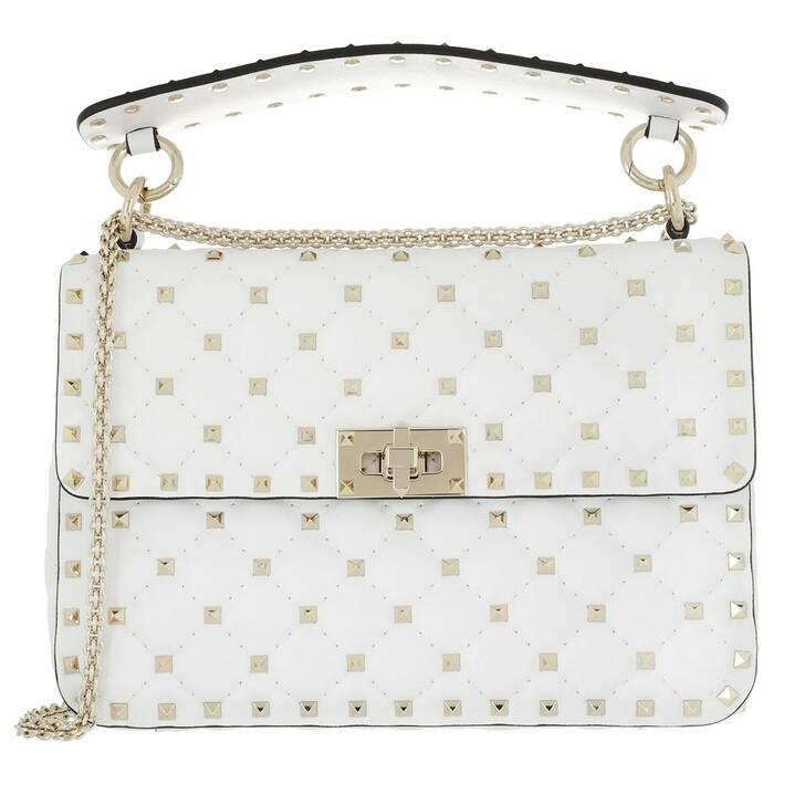 Handtasche, Valentino, Medium Rockstud Spike Crossbody Bag Optic White