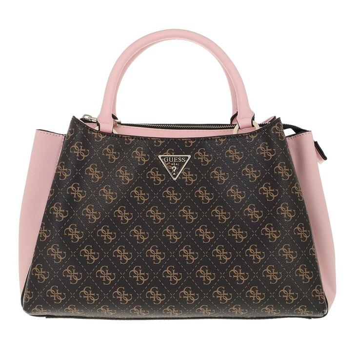 bags, Guess, Ambrose Turnlock Satchel Brown Blush Logo