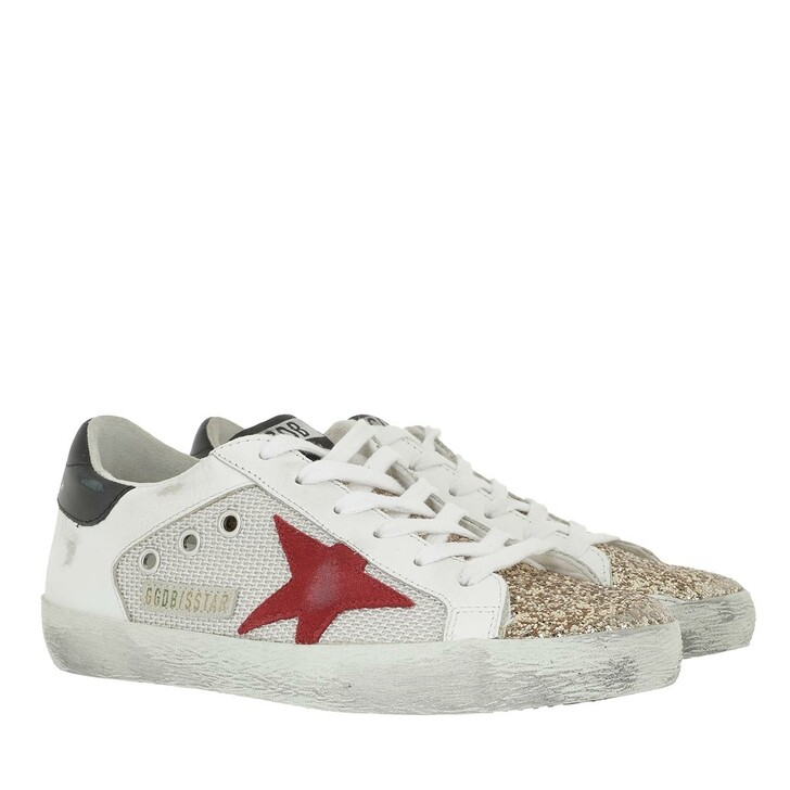 Schuh, Golden Goose, Low Top Superstar Sneakers White/Gold/Red