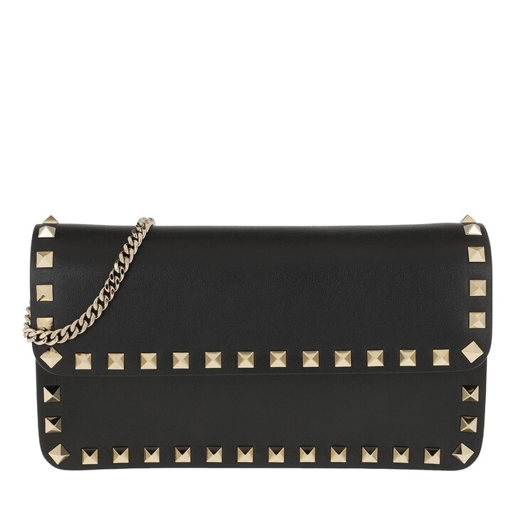 Handtasche, Valentino Garavani, Pouch Leather Black