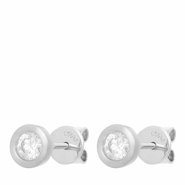 earrings, VOLARE, Earring Studs 2 Brill ca. 0,40 Platinum