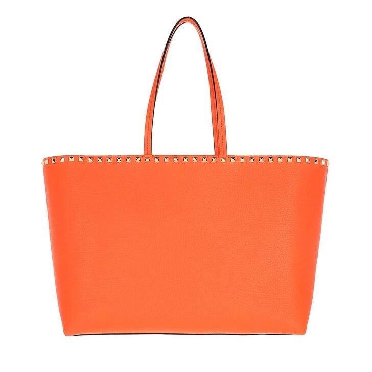 bags, Valentino Garavani, Rockstud Studded Shopping Bag Leather  Orange Zest