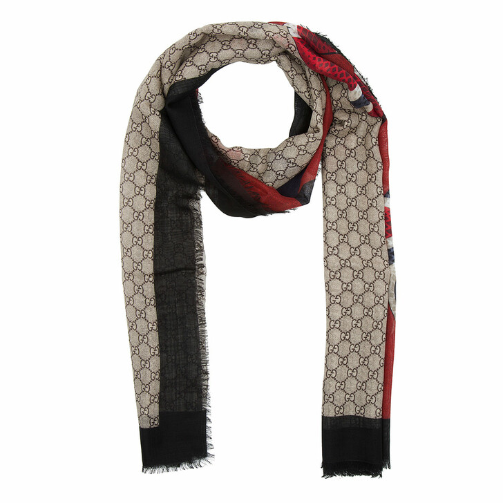 Schal, Gucci, Web and Kingsnake Print Wool Scarf Ebony/Navy