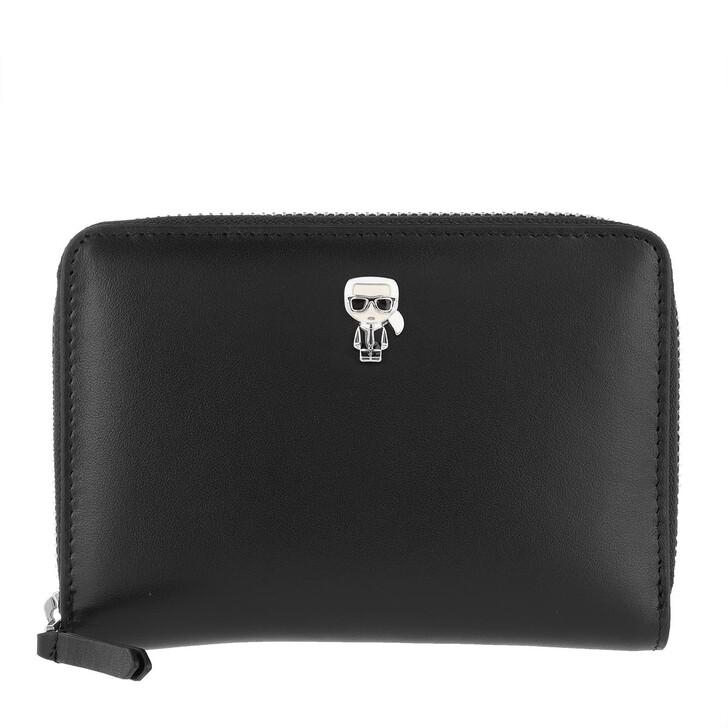 Geldbörse, Karl Lagerfeld, K/Ikonik Pin Md Fold Wallet  Black