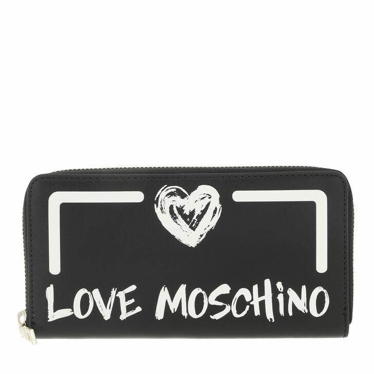 wallets, Love Moschino, Portafogli Pu  Nero Bianco