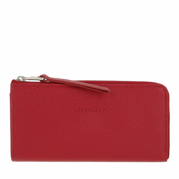 wallets, Longchamp, Le Foulonné Wallet with Zip  Red