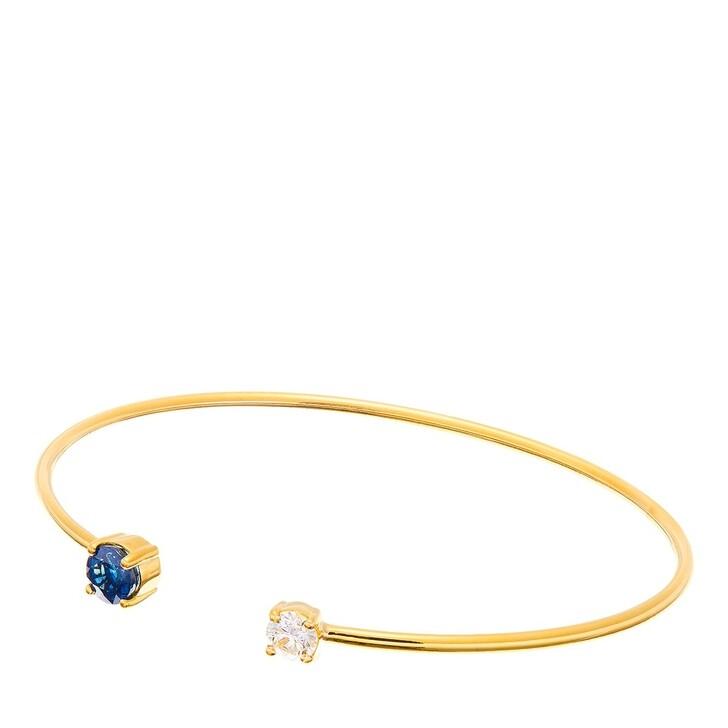 Armreif, BELORO, 14 KT Sapphire with Diamond Open Bangle Yellow Gold