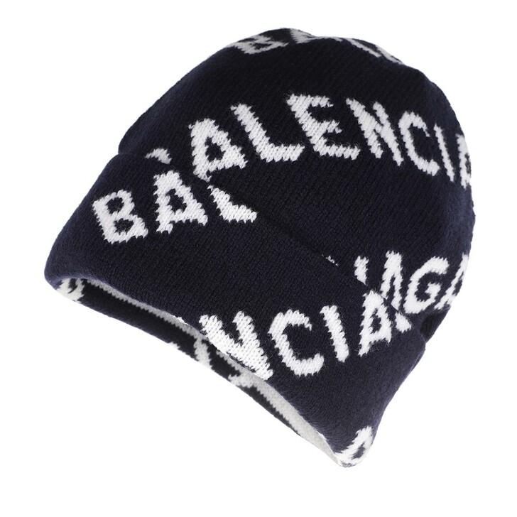 Mütze, Balenciaga, Logo All Over Beanie Wool Navy/White