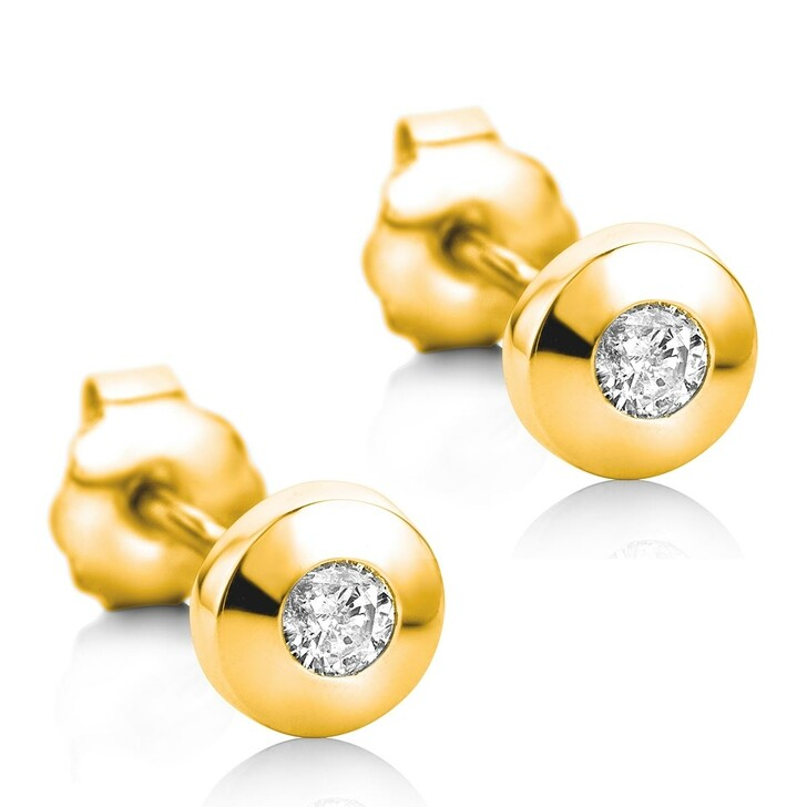 Ohrring, DIAMADA, 14KT Diamond Earrings Yellow Gold