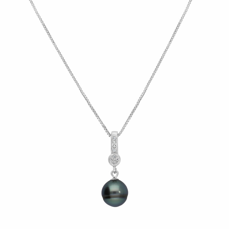 necklaces, BELORO, Pendant Necklace Tahiti Pearl  Silver Rhodium Plated