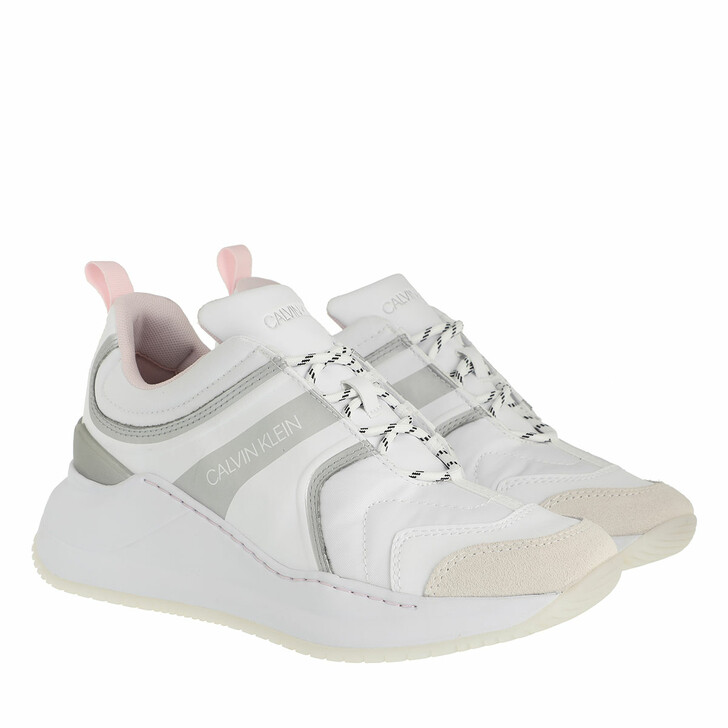Schuh, Calvin Klein, Runner Lace Up Sneakers Nylon Leather White