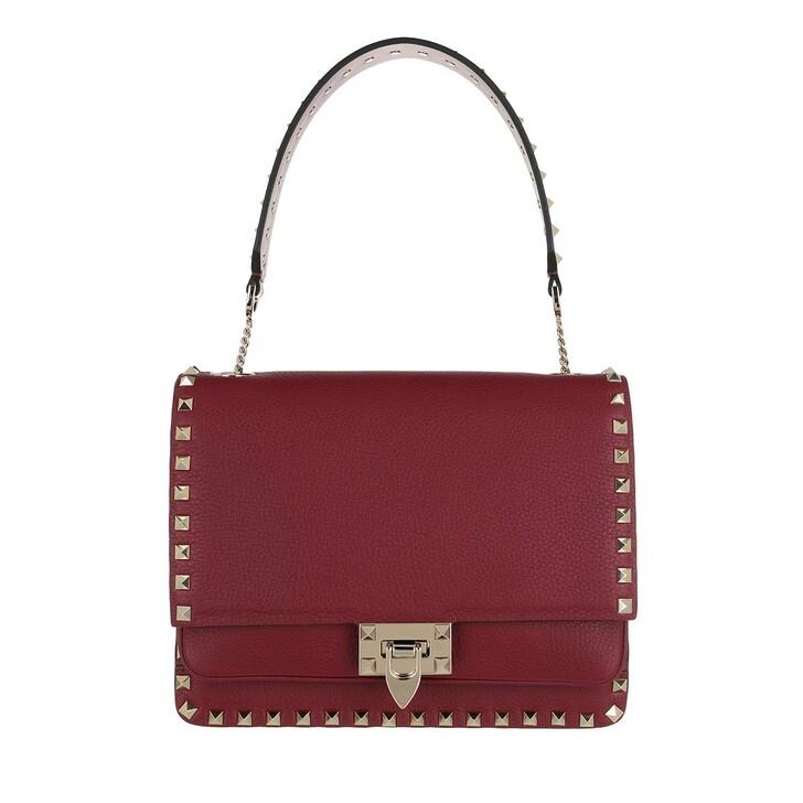 Handtasche, Valentino, Rockstud Shoulder Bag Cerise