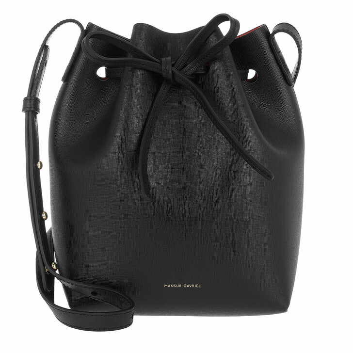 Handtasche, Mansur Gavriel, Mini Bucket Bag Leather Black/Flamma