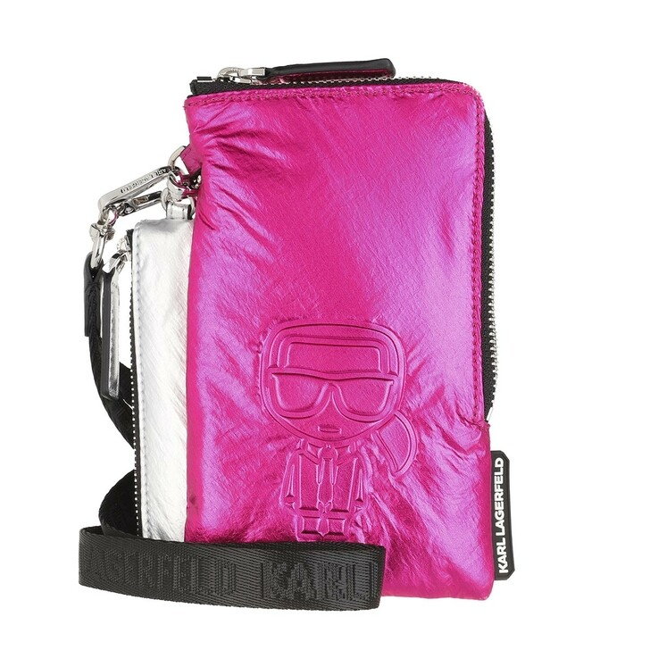Handtasche, Karl Lagerfeld, K/Ikonik Nylon Dpouch Metallic Pink/Silver