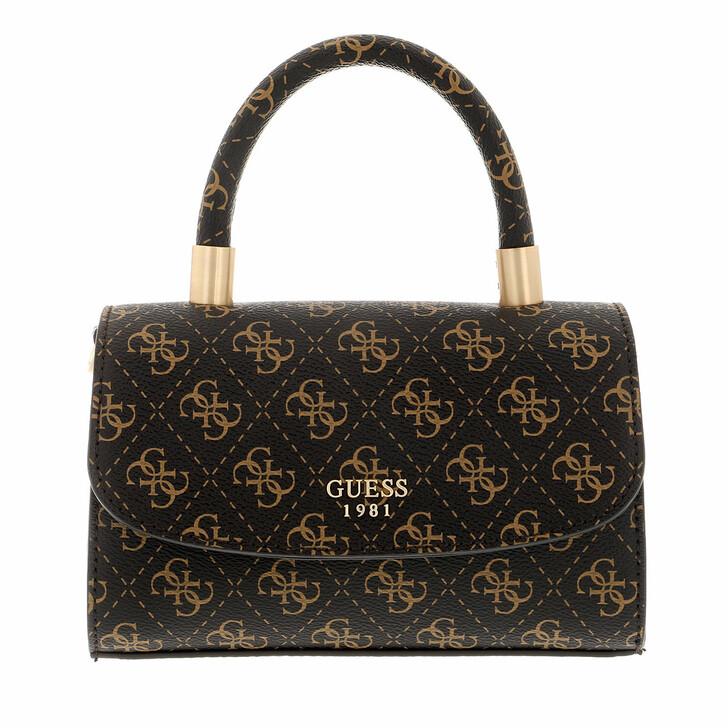 bags, Guess, Layla Mini Top Handle Flap Brown Logo