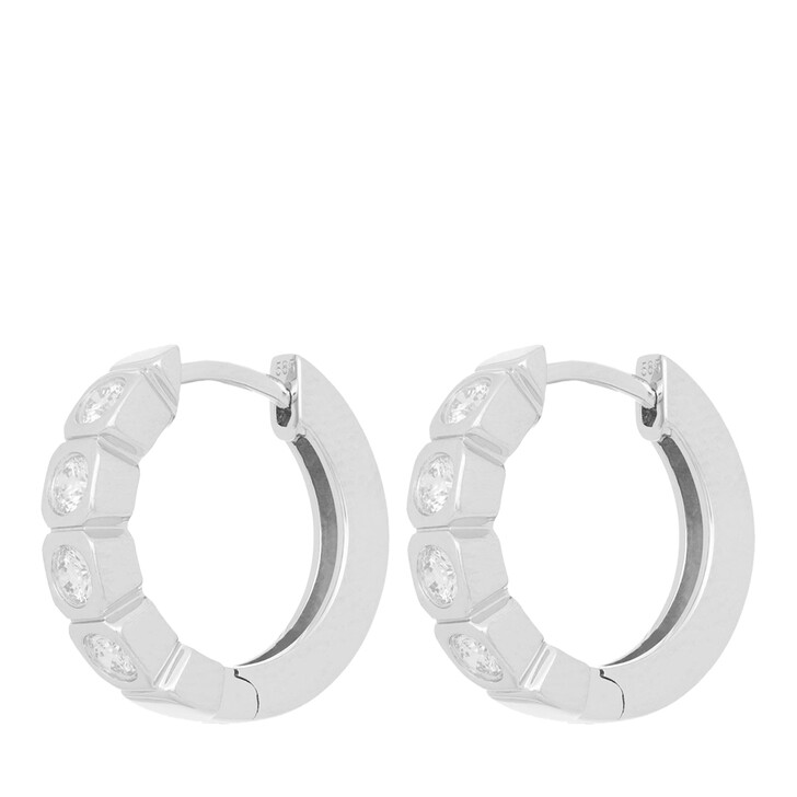 earrings, VOLARE, Earring Hoops 8 Brill ca. 0,40 White Gold