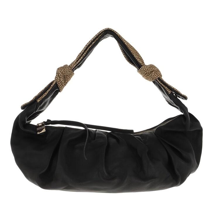 bags, Borbonese, Small Duna Hobo Bag Black/Op Natural