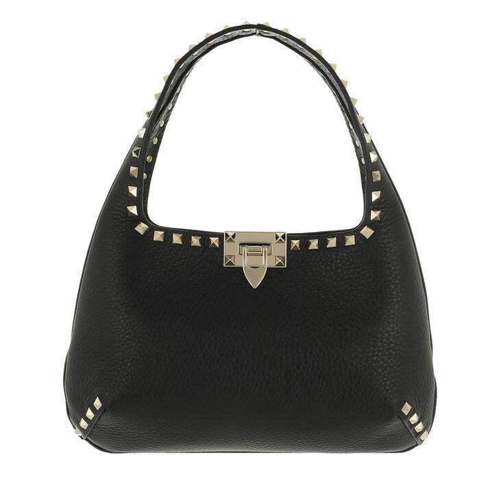 Handtasche, Valentino Garavani, Small Rockstud Hobo Bag Leather Black