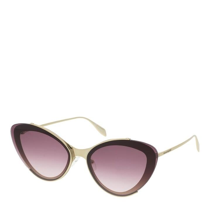 Sonnenbrille, Alexander McQueen, AM0251S-003 66 Sunglasses Gold-Gold-Red