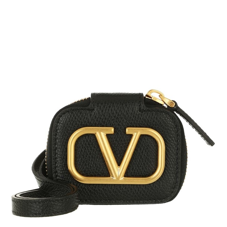 smart_cases, Valentino Garavani, V Logo Signature Airpod Case Calf Leather Black