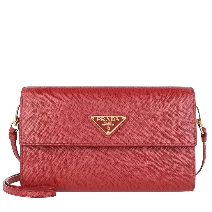 Geldbörse, Prada, Strap Wallet Leather Red