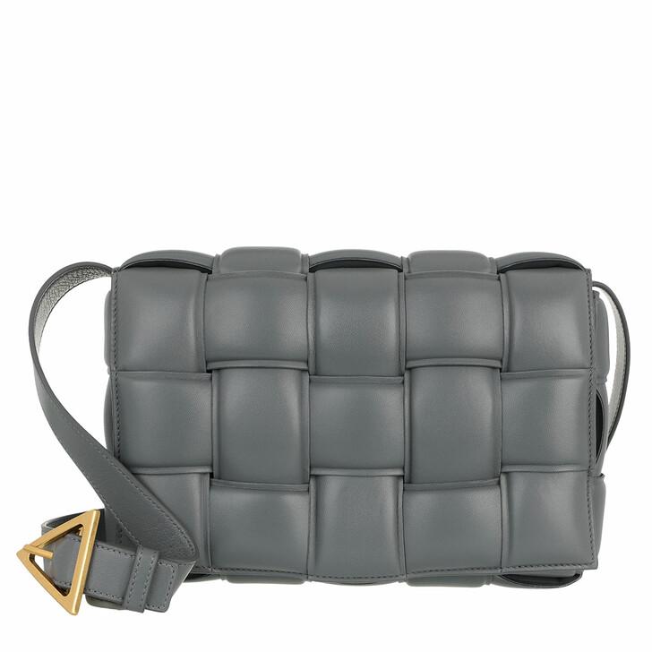 bags, Bottega Veneta, Padded Cassette Crossbody Leather Thunder
