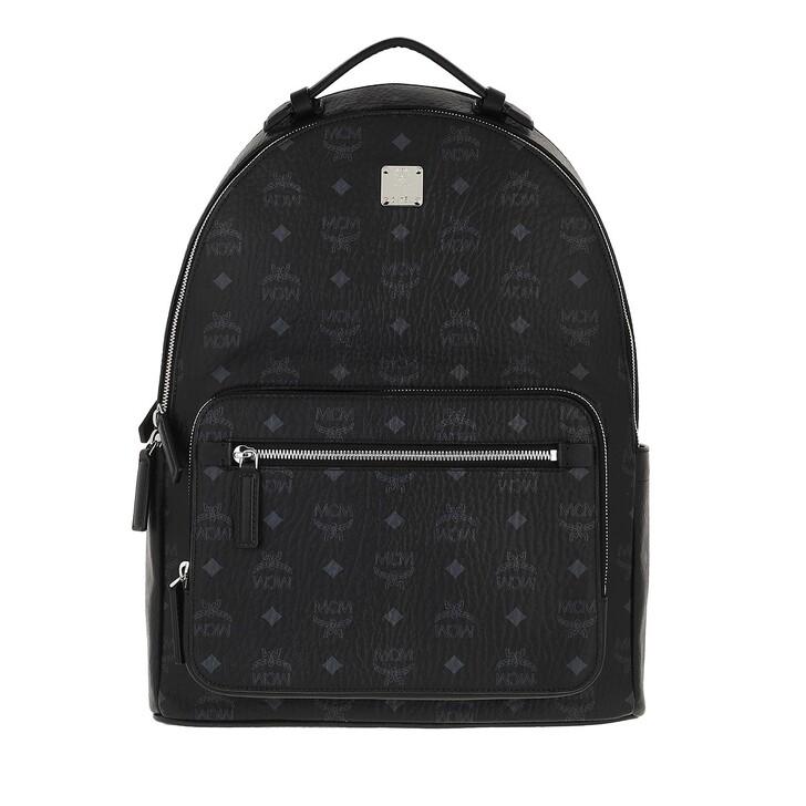 bags, MCM, Stark Visetos Backpack Medium  Black