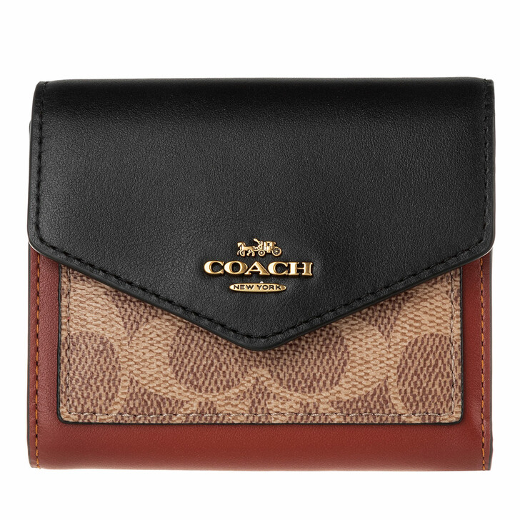 Geldbörse, Coach, Colorblock Coated Canvas Signature Small Wallet Tan Black