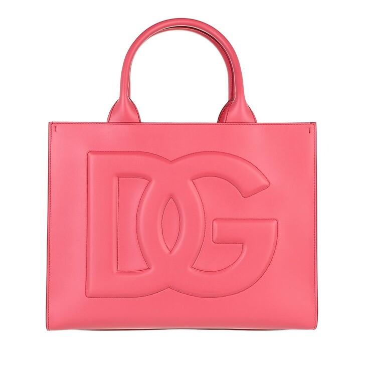 bags, Dolce&Gabbana, Small DG Daily Shopper Leather Fuchsia