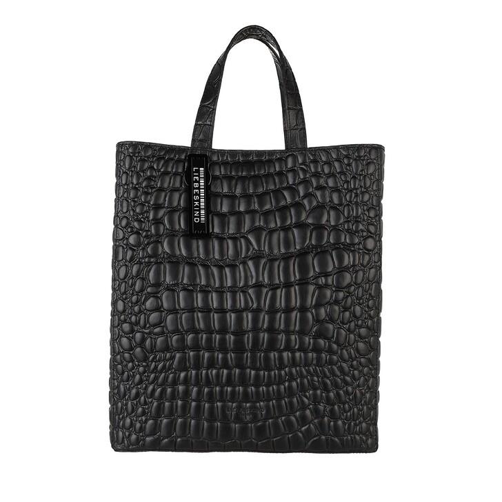 bags, Liebeskind Berlin, Croco Paperbag20 Black