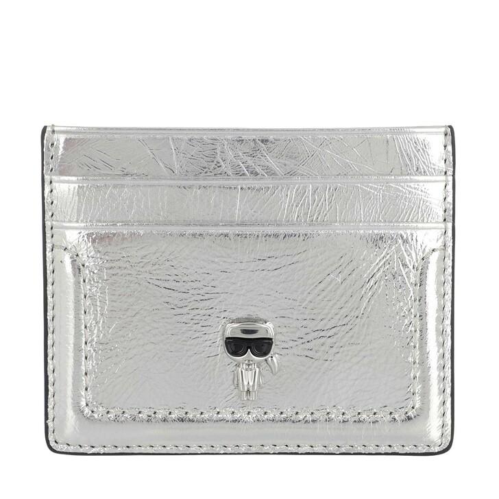 wallets, Karl Lagerfeld, K/Ikonik 3d Pin Card Holder Silver