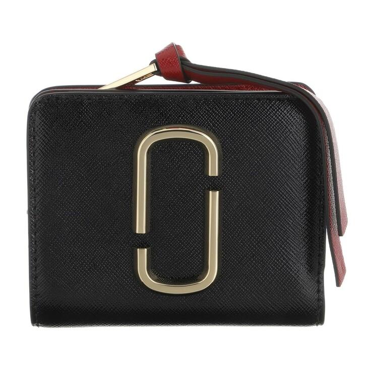 Geldbörse, Marc Jacobs, The Snapshot Mini Compact Wallet Black/Chianti
