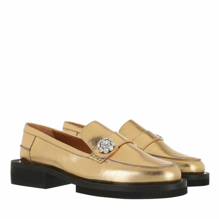 Schuh, GANNI, Loafers Metallic Leather Gold