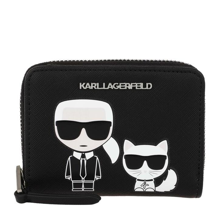 Geldbörse, Karl Lagerfeld, K/Ikonik Sm Folded Zip Wallet Black