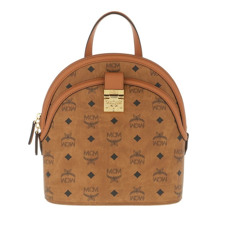 Reisetasche, MCM, Anna Visetos Backpack Small Cognac