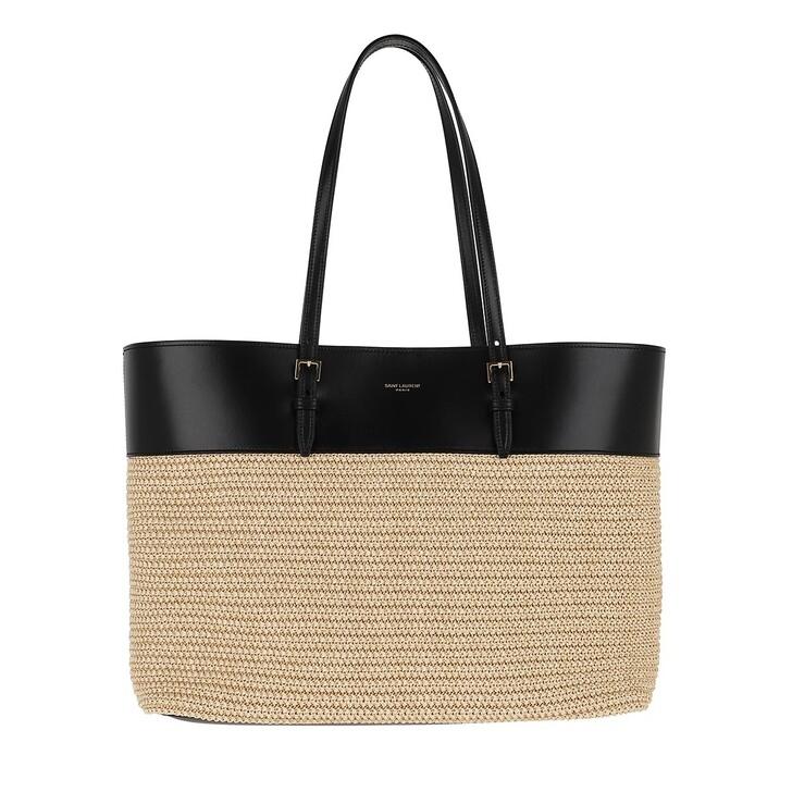 Handtasche, Saint Laurent, Raffia Shopper Medium Black