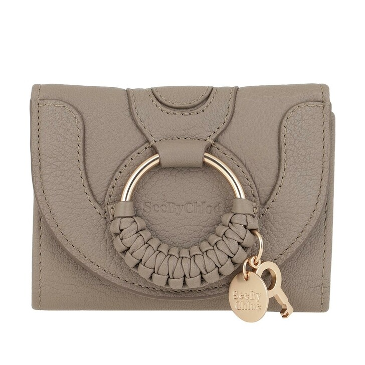 wallets, See By Chloé, Compact Wallet Leather Motty Grey