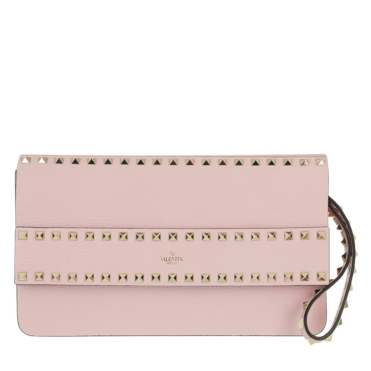 Handtasche, Valentino, Rockstud Clutch Leather Quartz