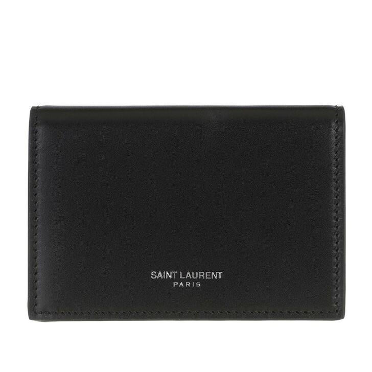 Geldbörse, Saint Laurent, Logo Print Wallet Leather Black