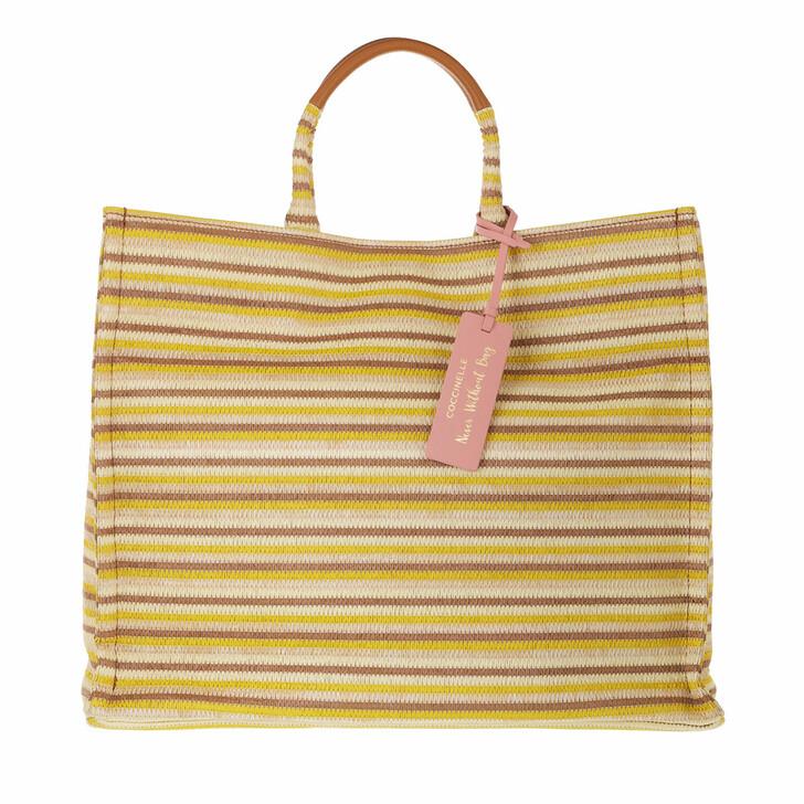 bags, Coccinelle, Handbag Woven Paper Fabric Multi Sorbet/Caramel