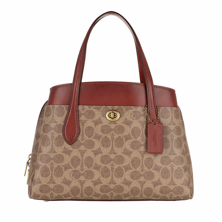 Handtasche, Coach, Coated Canvas Signature Lora Carryall 30 Tan Rust