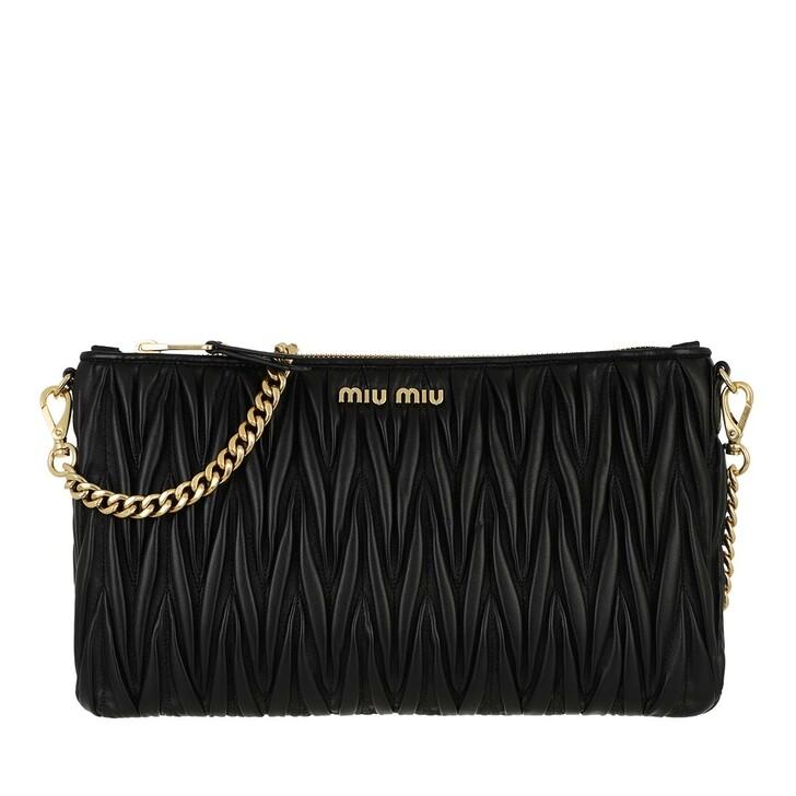 bags, Miu Miu, Matelassé Shoulder Bag Nappa Leather Black