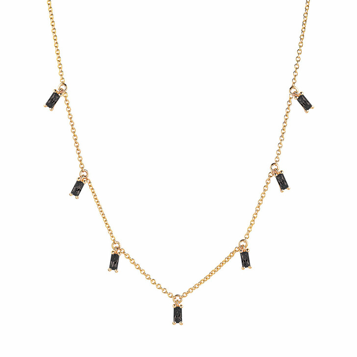 Kette, Sif Jakobs Jewellery, Princess Baguette Necklace Black Yellow Gold