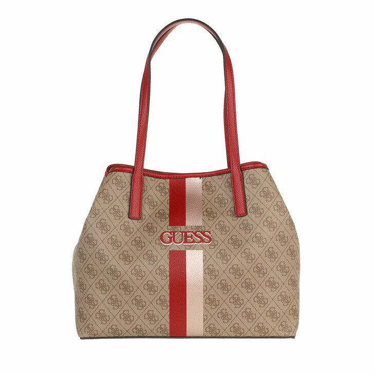 bags, Guess, Vikky Tote Latte/Red