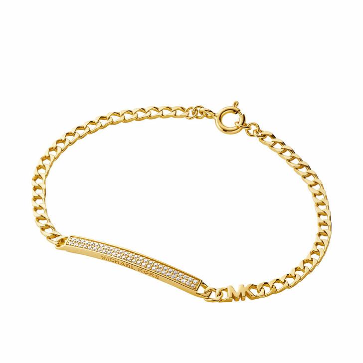 Armreif, Michael Kors, Statement Link 14k Gold-Plated Pavé Bracelet Yellow Gold