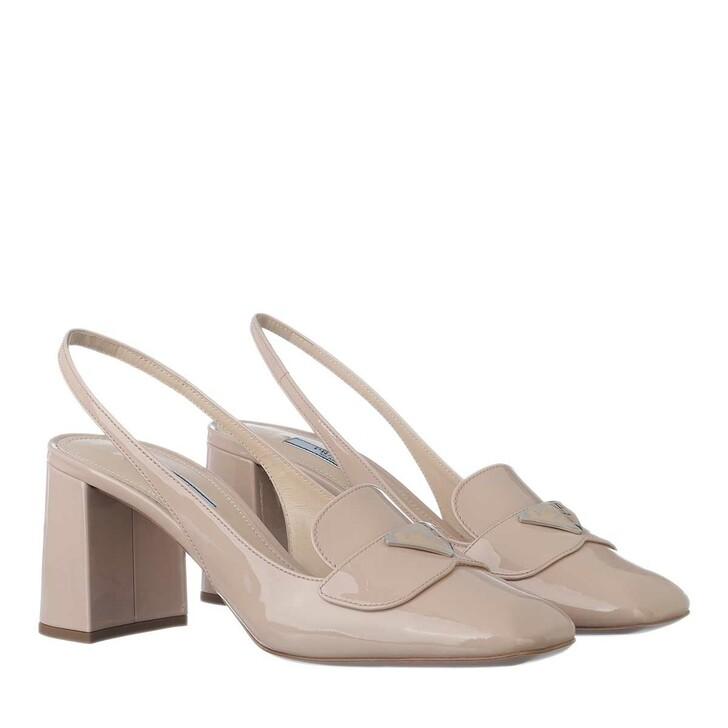 Schuh, Prada, Slingback Pumps Leather Beige