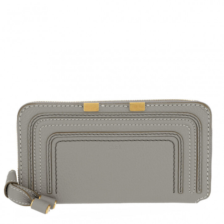 Geldbörse, Chloé, Zip Wallet Leather Cashmere Grey