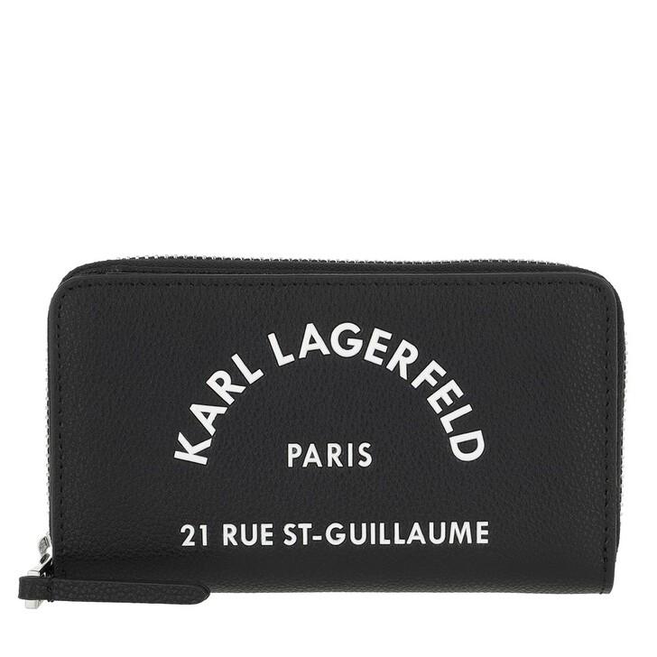 wallets, Karl Lagerfeld, Rue Saint Guillaume Zip Wallet Black