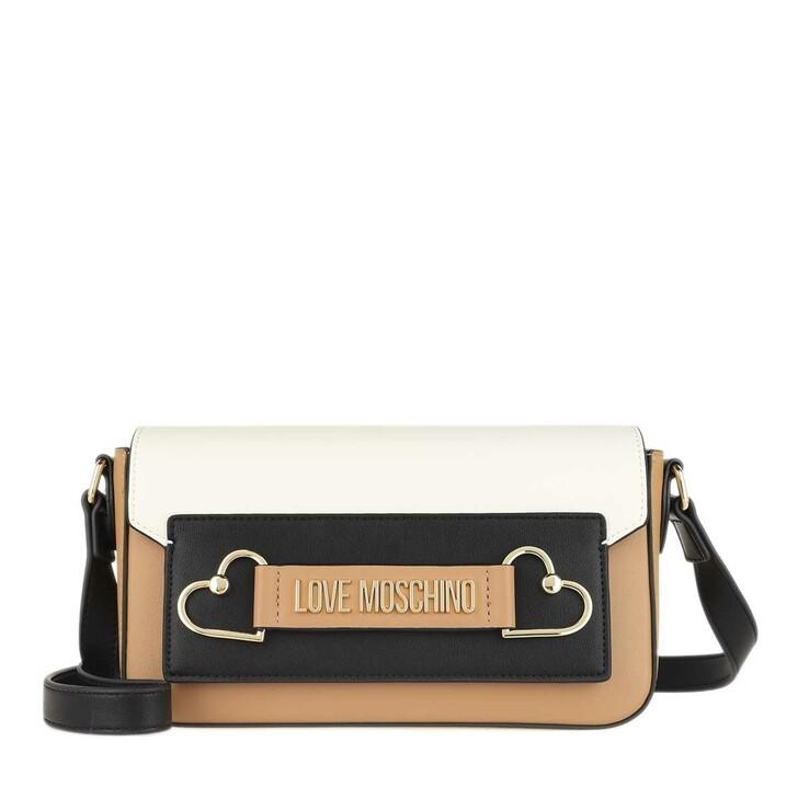 bags, Love Moschino, Borsa Pu Cammello/Bianco/Nero